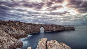 Hintergrundbilder Spanien Meer Felsen Wolke Ciutadella de Menorca, Balearic Islands Natur