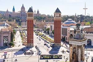 Wallpapers Spain Barcelona Town square Tower Spain Square Cities pictures images