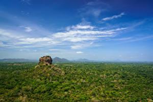 桌面壁纸,,斯里蘭卡,山,天空,岩,Sigiriya, Matale District, Central Province,