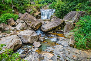 Fotos Sri Lanka Fluss Stein Bäche Nuwara Eliya Natur