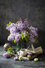Tapety Martwa natura Lilak Filiżanka Makaron (ciasteczka) Książka Kwiaty zdjęcia zdjęcie
