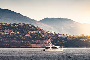 Photo Sunrises and sunsets Coast Monte Carlo Monaco Sea Yacht Cities