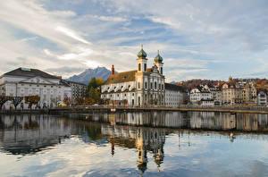 Bilder Schweiz Kirche Wasser Flusse Spiegelt Luzern, Jesuitenkirche Städte