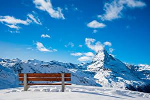 Tapety na pulpit Szwajcaria Góra Niebo Śnieg Ławka Chmury Alpy Zermatt, Near Blauherd