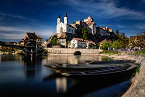 Hintergrundbilder Schweiz Fluss Burg Boot Gebäude Aarburg, Aare River Städte