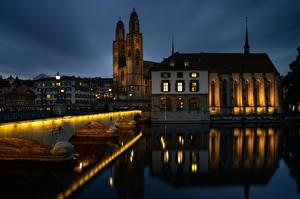 Fonds d'écran Suisse Zurich Maison Rivières Ponts Tour (édifice) Nuit Reflet  Villes images