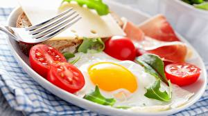 Image Tomatoes Bread Cheese Fried egg Breakfast Plate Fork Food