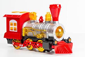 Bakgrundsbilder på skrivbordet Leksak Tåget Vit bakgrund