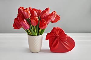 Photo Tulips Bouquet Valentine's Day Vase Box Bow knot Gifts Heart flower