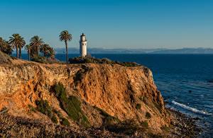 Fonds d'écran États-Unis Côte Phares Californie Falaise Palmae Point Vicente Lighthouse, Rancho Palos Verdes Nature