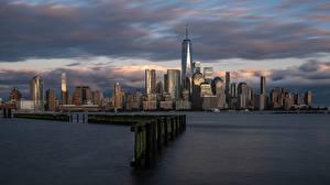 Fondos de Pantalla EE.UU. Casa Rascacielos Nueva York Manhattan Ciudades imágenes