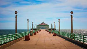 Fotos & Bilder USA Schiffsanleger Ozean Kalifornien Straßenlaterne Manhattan Beach Natur