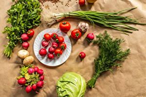 Bilder Gemüse Radieschen Tomaten Kohl Dill Frühlingszwiebel Knoblauch Teller