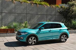 Fotos Volkswagen Softroader Hellblau 2020 T-Cross R-Line auto
