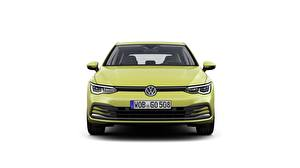 Papéis de parede Volkswagen Na frente Fundo branco Golf 8 hatchback Carros imagens