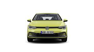 Bakgrundsbilder på skrivbordet Volkswagen Framifrån Vit bakgrund Golf 8 hatchback automobil