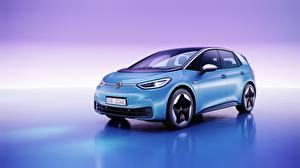 壁紙,大众汽车,色背景,天蓝色,ID.3, all-electric hatchback,汽车,