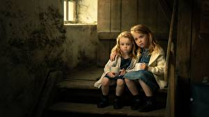 Images Little girls Sit Two Stairs Sadness sisters child