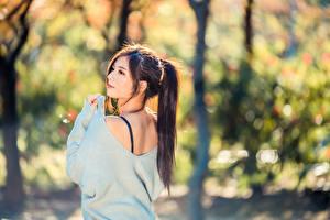 Fotos Asiatische Unscharfer Hintergrund Haar Schwanz junge Frauen