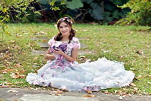 Fotos Asiatisches Blumensträuße Kleid Sitzend Lächeln Blick Mädchens