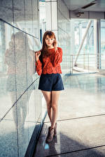 Picture Asiatic Brown haired Legs Skirt Blouse Staring