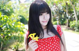 Bilder Asiatische Brünette Blick Lächeln Bokeh Haar junge frau