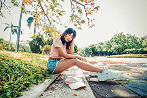 Pictures Asiatic Brunette girl Sit Sneakers Legs Shorts T-shirt Staring Blurred background young woman