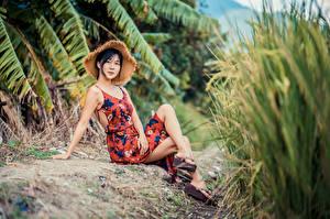 Bilder Asiatische Brünette Sitzend Kleid Bein Der Hut Blick junge frau