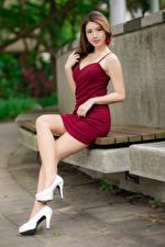 Hintergrundbilder Asiaten Niedlich Stöckelschuh Bein Kleid Blick Schöner Mädchens