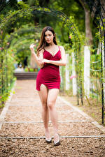 Hintergrundbilder Asiaten Pose Bein Kleid Blick junge frau
