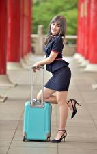 Wallpaper Asian Posing Legs Suitcase Uniform Staring Stewardesses female