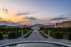 Image Austria Vienna Evening Landscape design Sculptures Palace Shrubs Belvedere