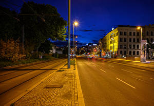 Pictures Austria Vienna Building Roads Night Street lights Street Cities
