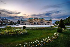 Фотография Австрия Вена Пруд Вечер Ландшафтный дизайн Дворца Газоне Belvedere город