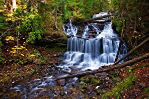 Pictures Autumn Waterfalls Stream Nature