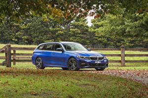 Картинки BMW Голубые Универсал 2020 330i Touring M Sport Автомобили