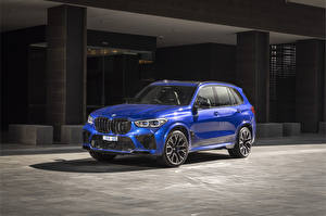 Hintergrundbilder BMW Crossover Blau 2020 X5 M Competition Autos