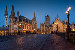 Images Belgium Ghent Houses Evening Bridges Street Street lights Tower Cities