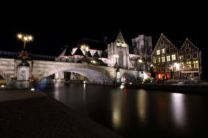 Wallpaper Belgium Ghent River Bridge Building Night time Street lights St Michael's Bridge Cities