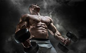 Picture Bodybuilding Men Belly Hands Muscle Dumbbells Smoke sports