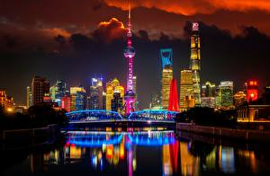 Pictures Bridges Shanghai China Towers Night Huangpu River, Oriental Pearl Tower