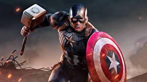 デスクトップの壁紙、、キャプテン・アメリカ、クリス・エヴァンス、ハンマー武器、盾、走る、有名人