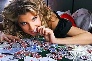 Wallpapers Playing cards Money Casino token Staring Face Hands Casino young woman