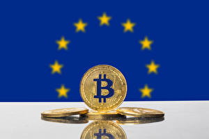 Bakgrunnsbilder Mynter Bitcoin Gylden Europa Flagg