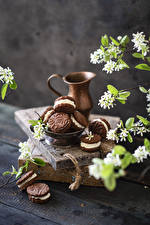 Images Cookies Flowering trees Boards Pitcher Branches Food