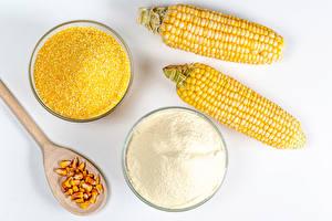 Hintergrundbilder Mais Mehl Weißer hintergrund 2 Löffel Getreide das Essen