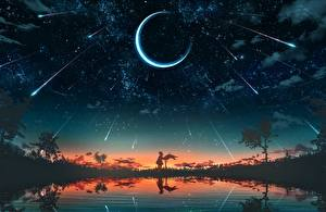 デスクトップの壁紙、、新月、空、恒星、朝焼けと日没、湖、シルエット、