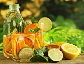Fotos Getränk Zitronen Limette Flasche Trinkglas das Essen