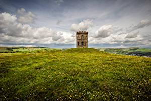 Hintergrundbilder England Türme Wolke Hügel Gras Peak district, Buxton, Grinlow Tower Natur