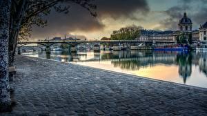Fonds d'écran France Pont Rivières Paris Waterfront Quartier Louvre, Aurore sur le Pont des Arts Villes